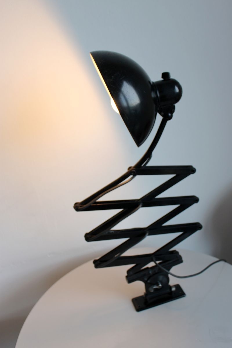 Vintage Black Bauhaus 6614 Scissor Lamp By Christian Dell
