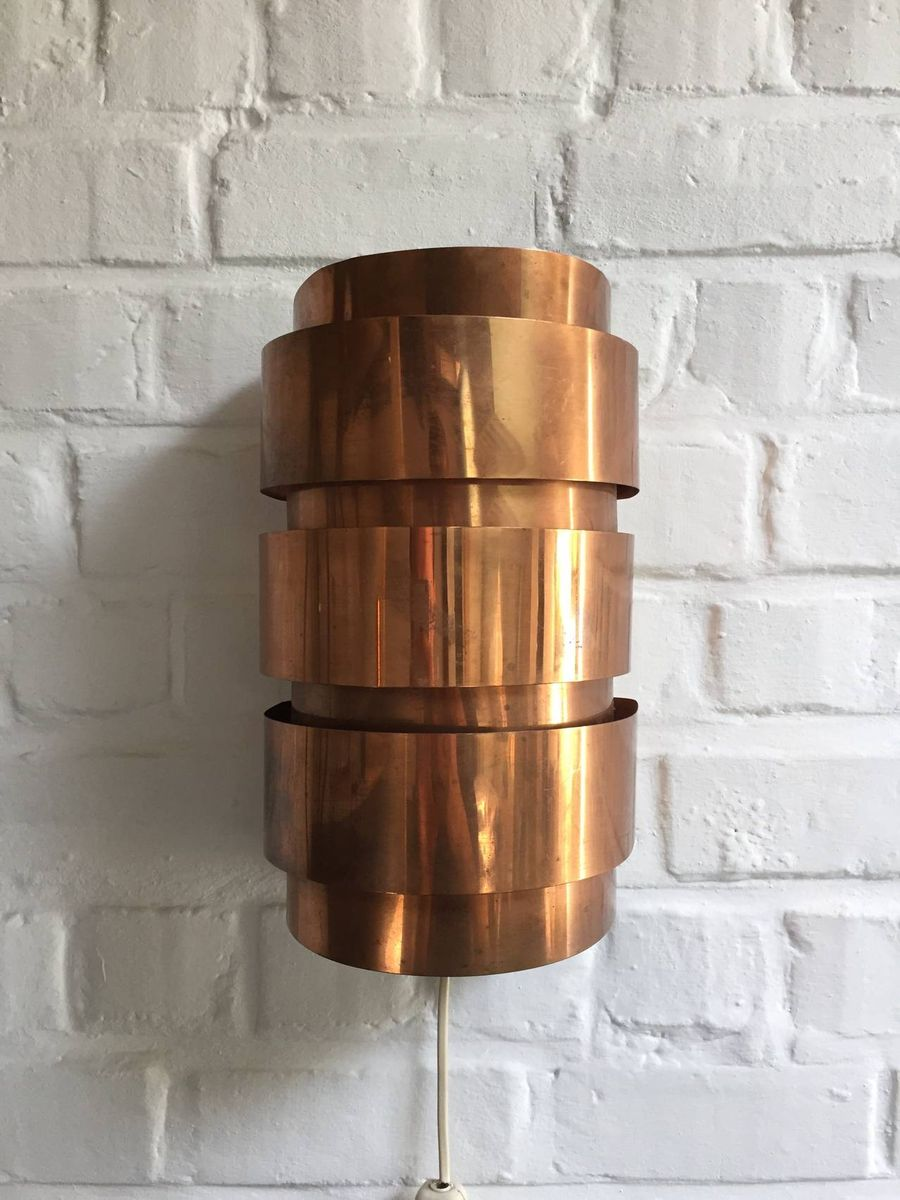 Wall Lamps Copper : Large Swedish Copper Wall Lamps from Hans Agne Jakobsson, 1960s, Set of 2 for sale at Pamono