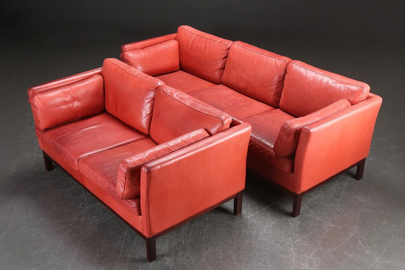 Danish Red Leather Sofas 1980s Set Of 2 For Sale At Pamono