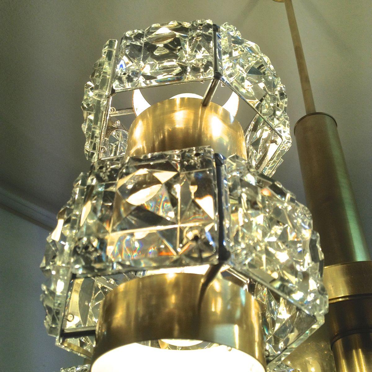 kristall und messing kronleuchter mit multiplen leuchten von kinkeldey 1960 bei pamono kaufen. Black Bedroom Furniture Sets. Home Design Ideas