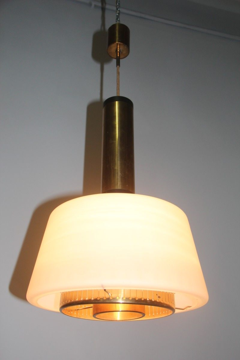 Deckenlampe aus messing und glas von stilnovo 1955 bei for Deckenlampe messing