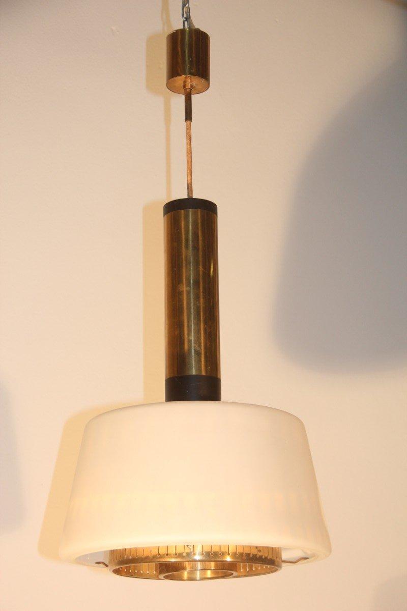 deckenlampe aus messing und glas von stilnovo 1955 bei. Black Bedroom Furniture Sets. Home Design Ideas