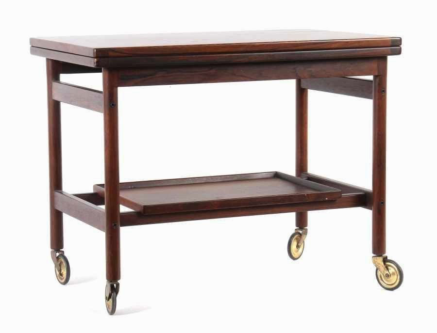Mid century danish rosewood bar trolley table by kurt for Mid century bistro table