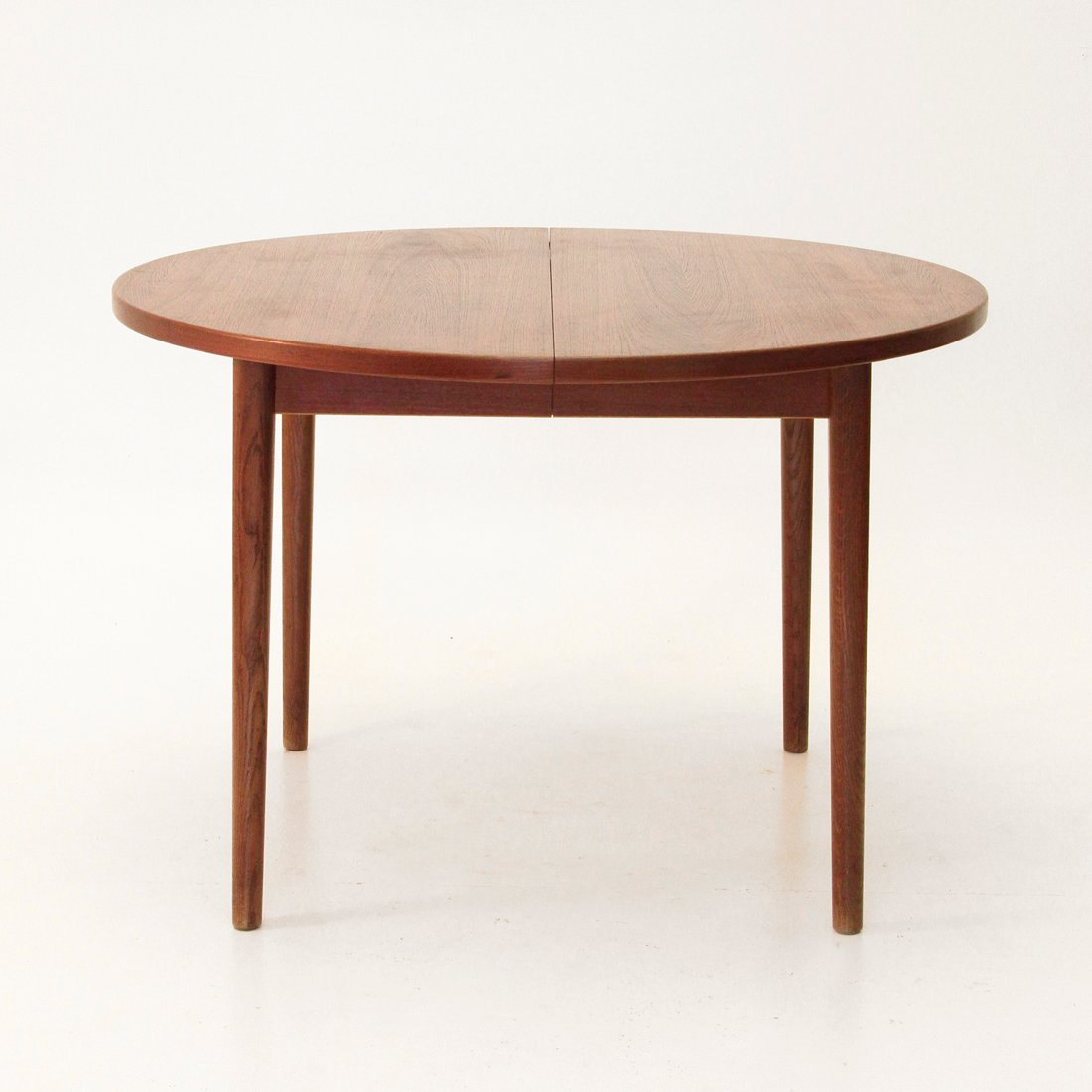 Round extendable teak table from hugo troeds 1960s for for Round teak table top