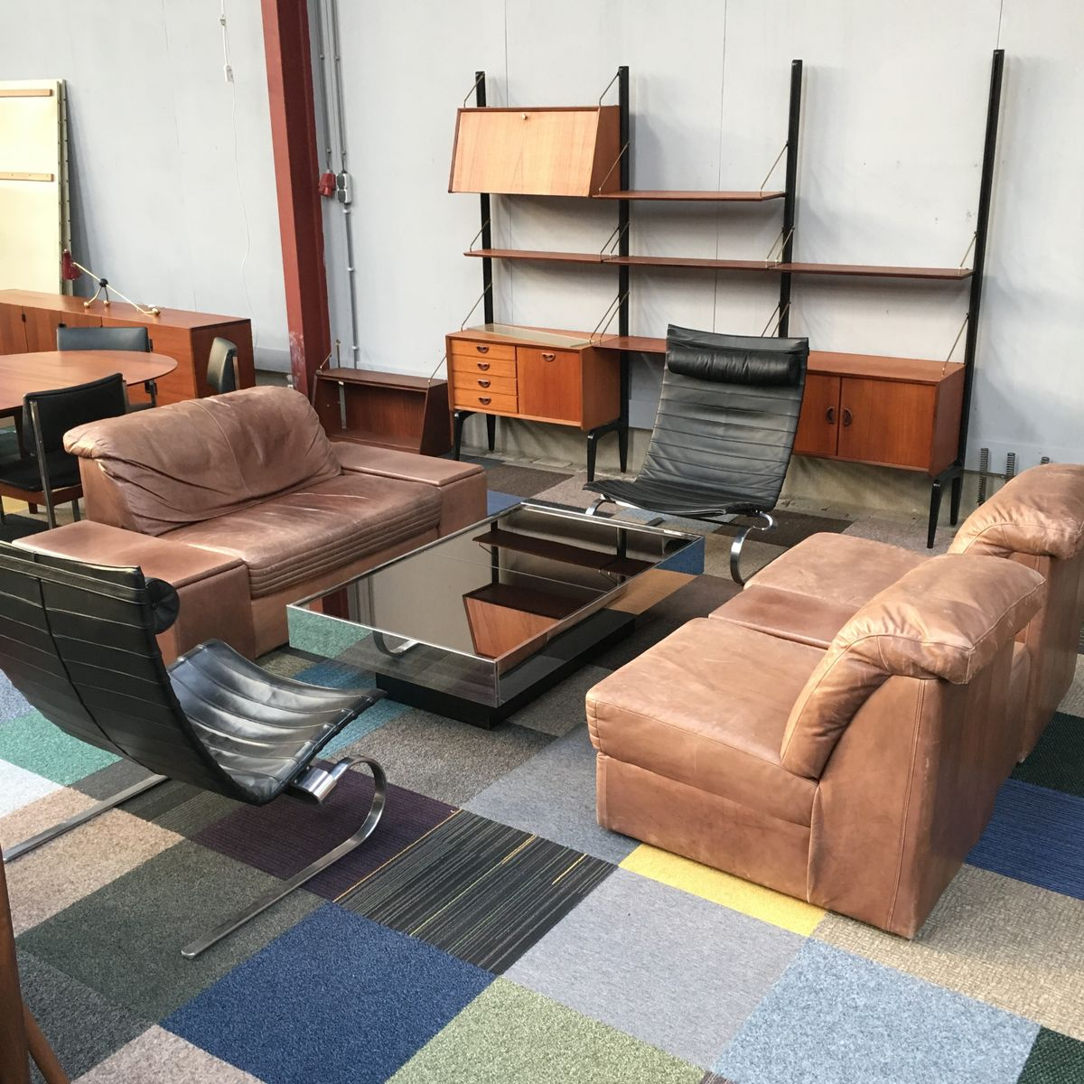 Vintage sectional brown leather living room set for sale for Brown leather living room set