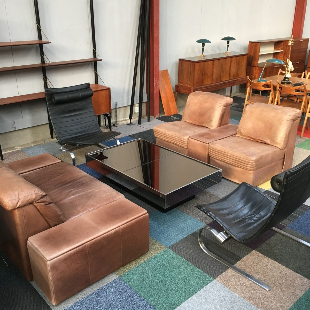 vintage sectional brown leather living room set for sale at pamono. Black Bedroom Furniture Sets. Home Design Ideas