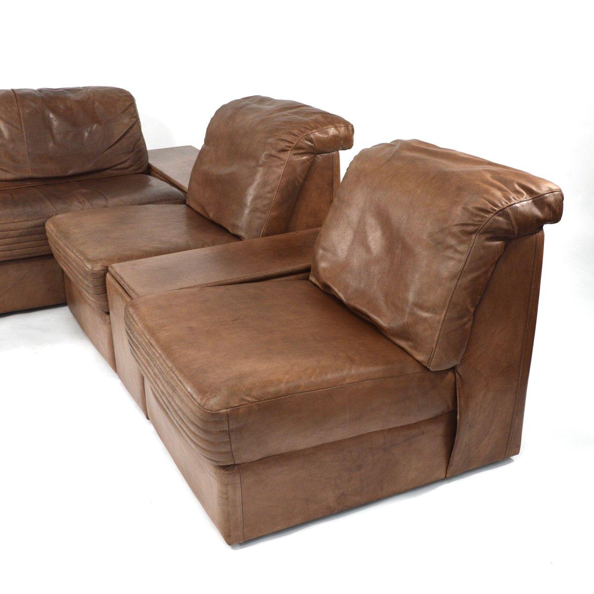 Modulares Braunes Vintage Leder Wohnzimmer Set bei Pamono kaufen