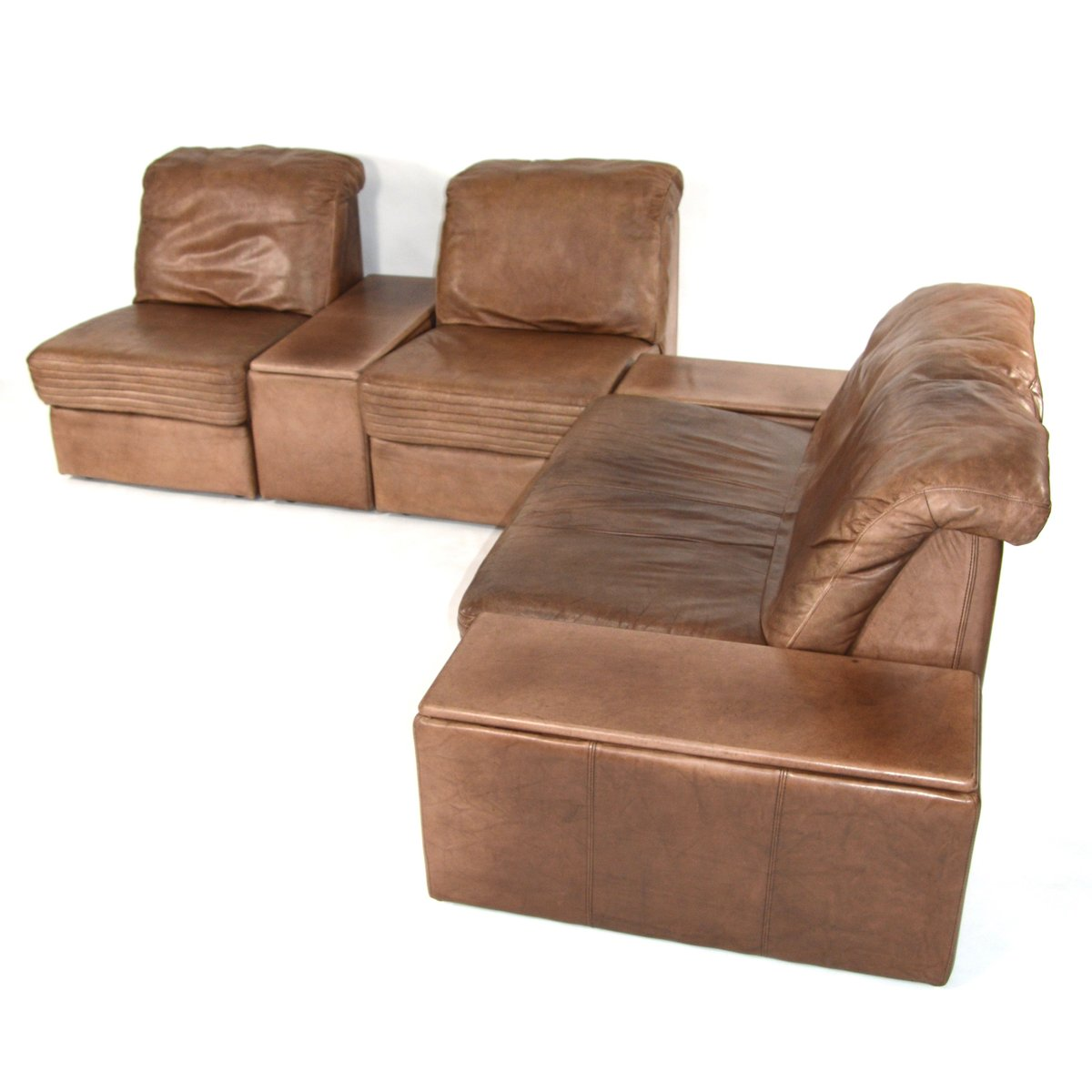 Vintage Sectional Brown Leather Living Room Set For Sale