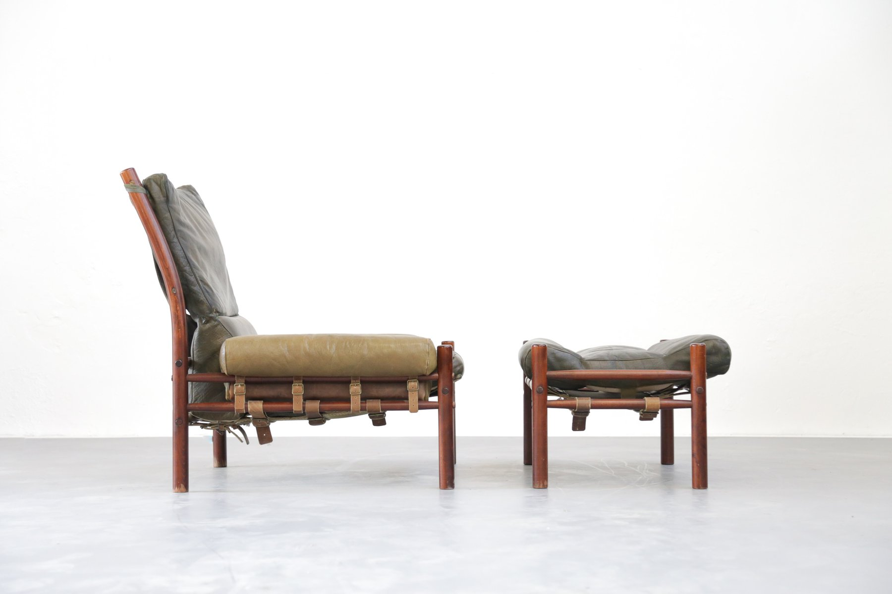 Mid Century Lounge Chair & Ottoman from Arne Norell for sale at Pamono