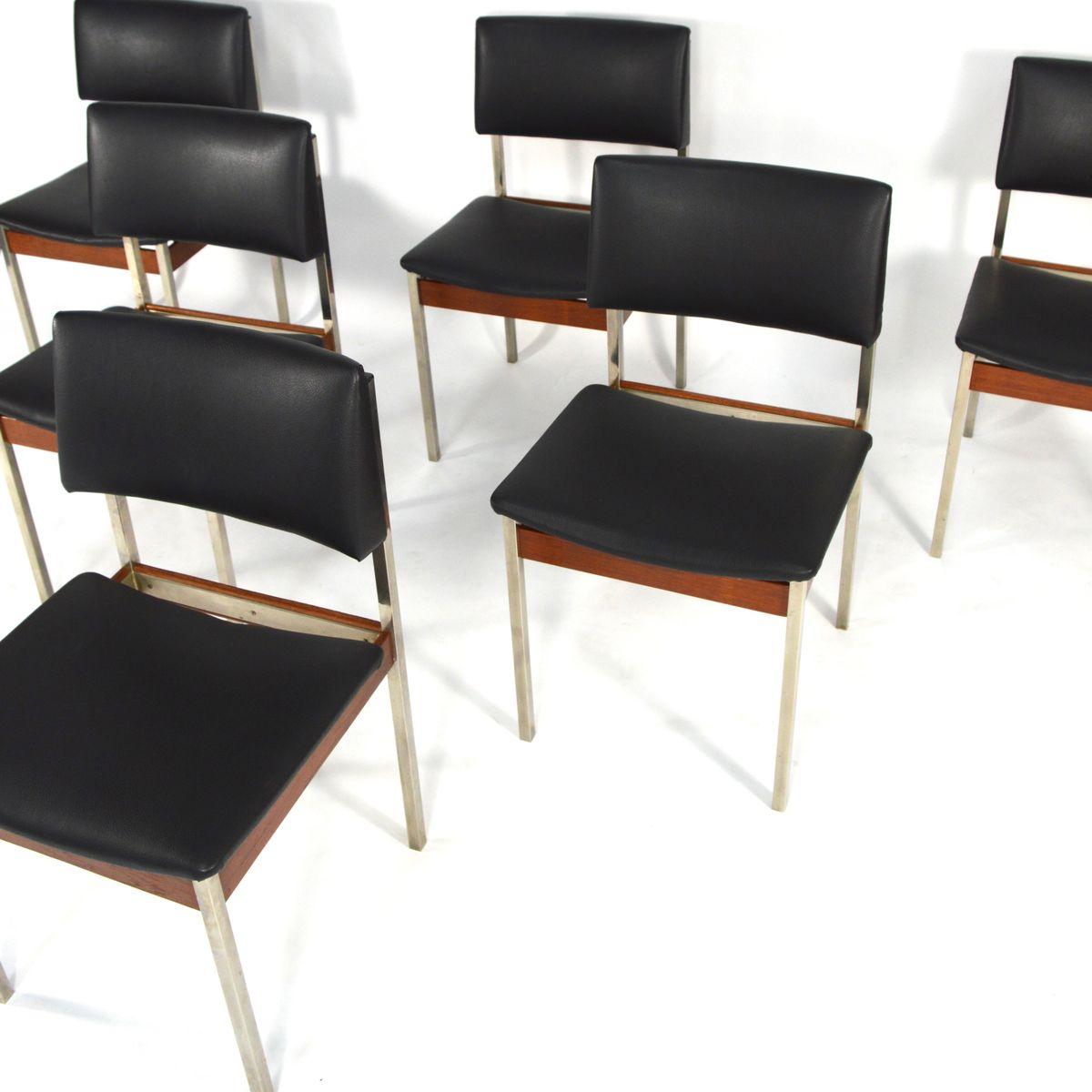 chaises de salon en chrome et en teck 1960s set de 6 en vente sur pamono. Black Bedroom Furniture Sets. Home Design Ideas