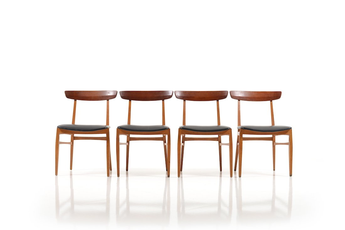 Exceptional Beech U0026 Teak Dining Chairs, 1950s, Set Of 4