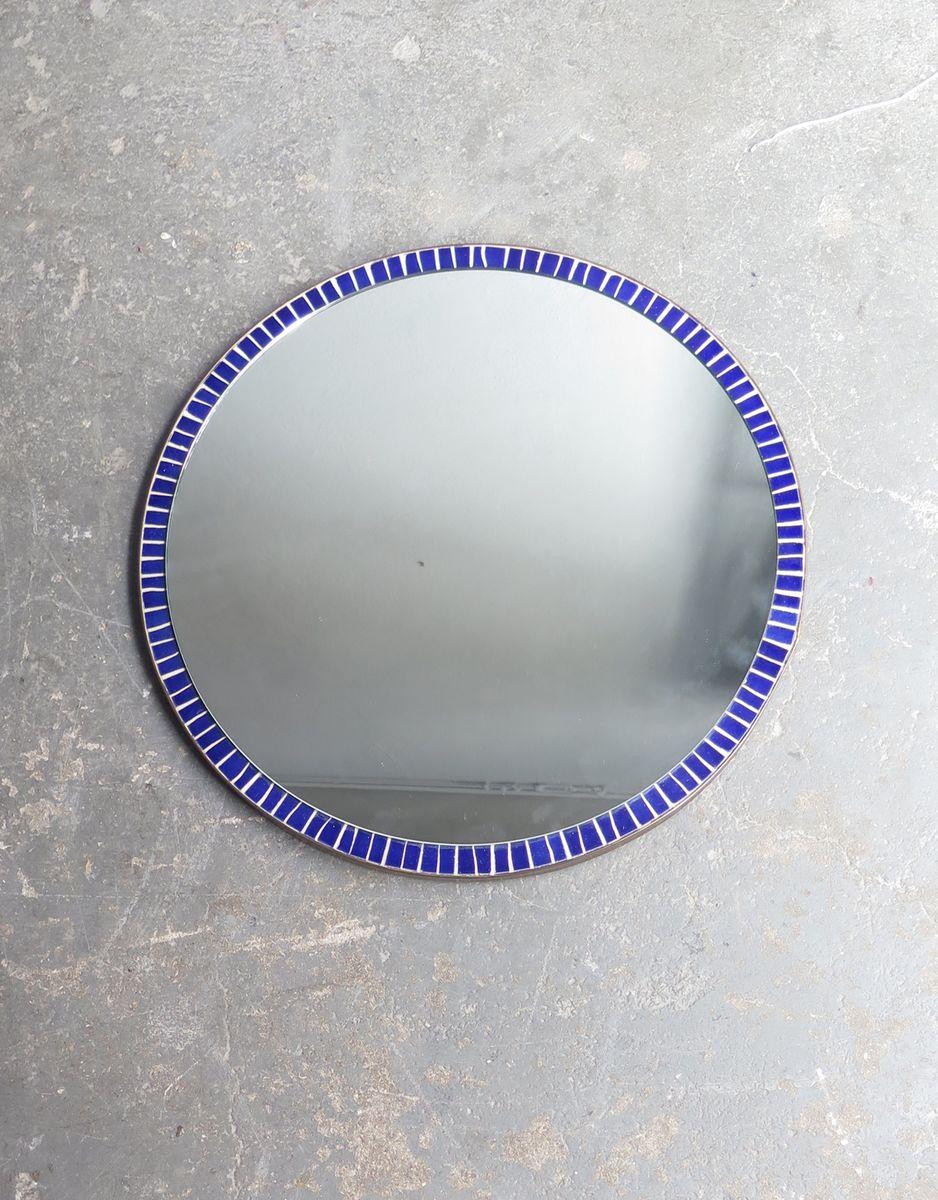 Miroir rond vintage bleu en mosa que en vente sur pamono for Miroir rond mosaique