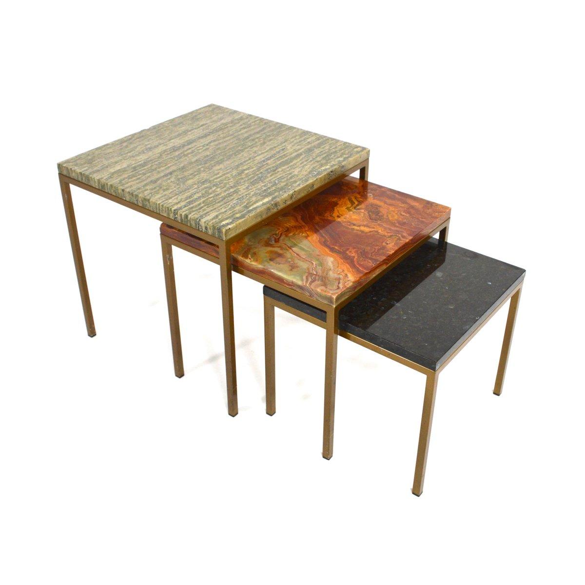 tables gigognes vintage en marbre italie set de 3 en. Black Bedroom Furniture Sets. Home Design Ideas