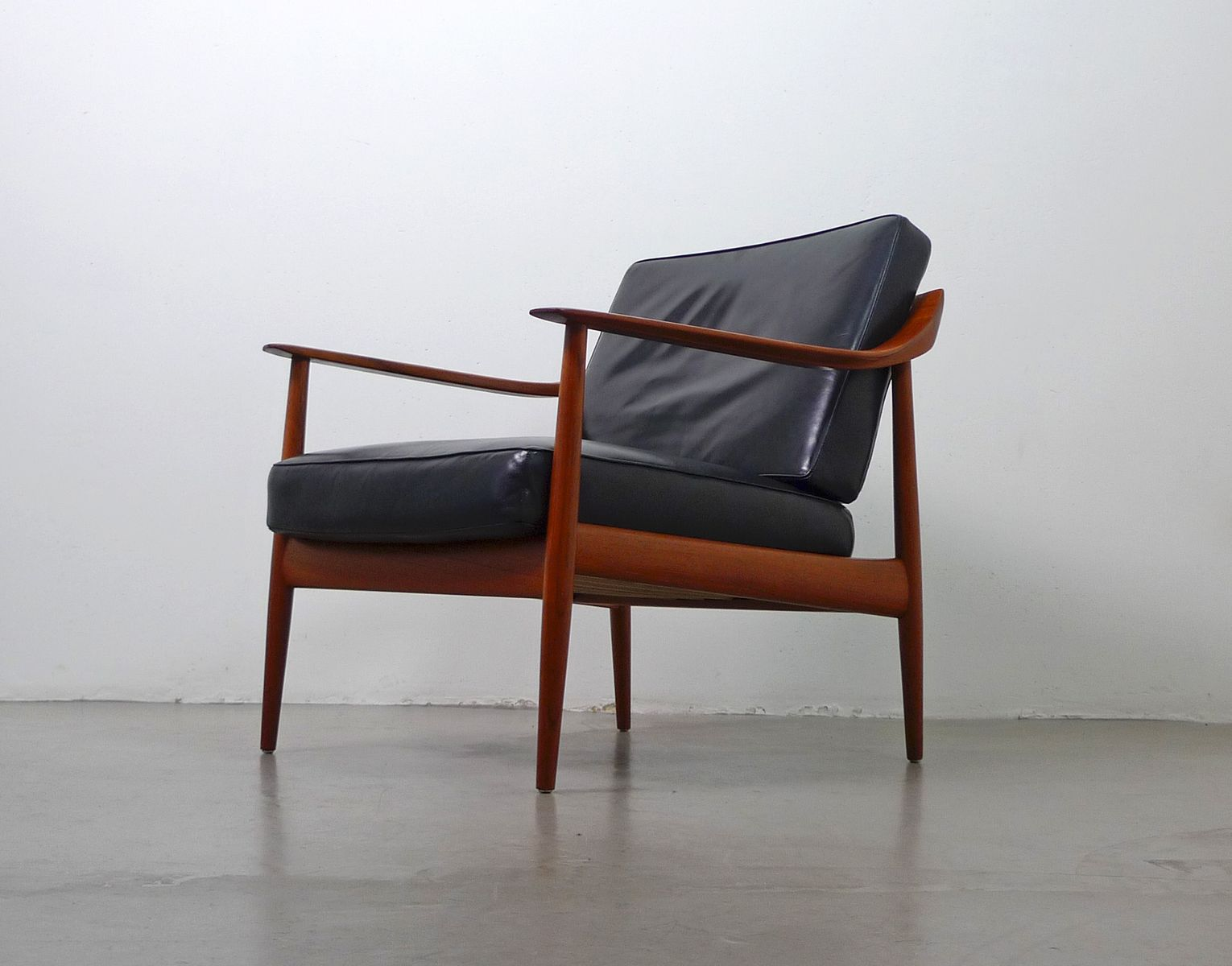 german teak black leather easy chair from walter knoll 1950s for