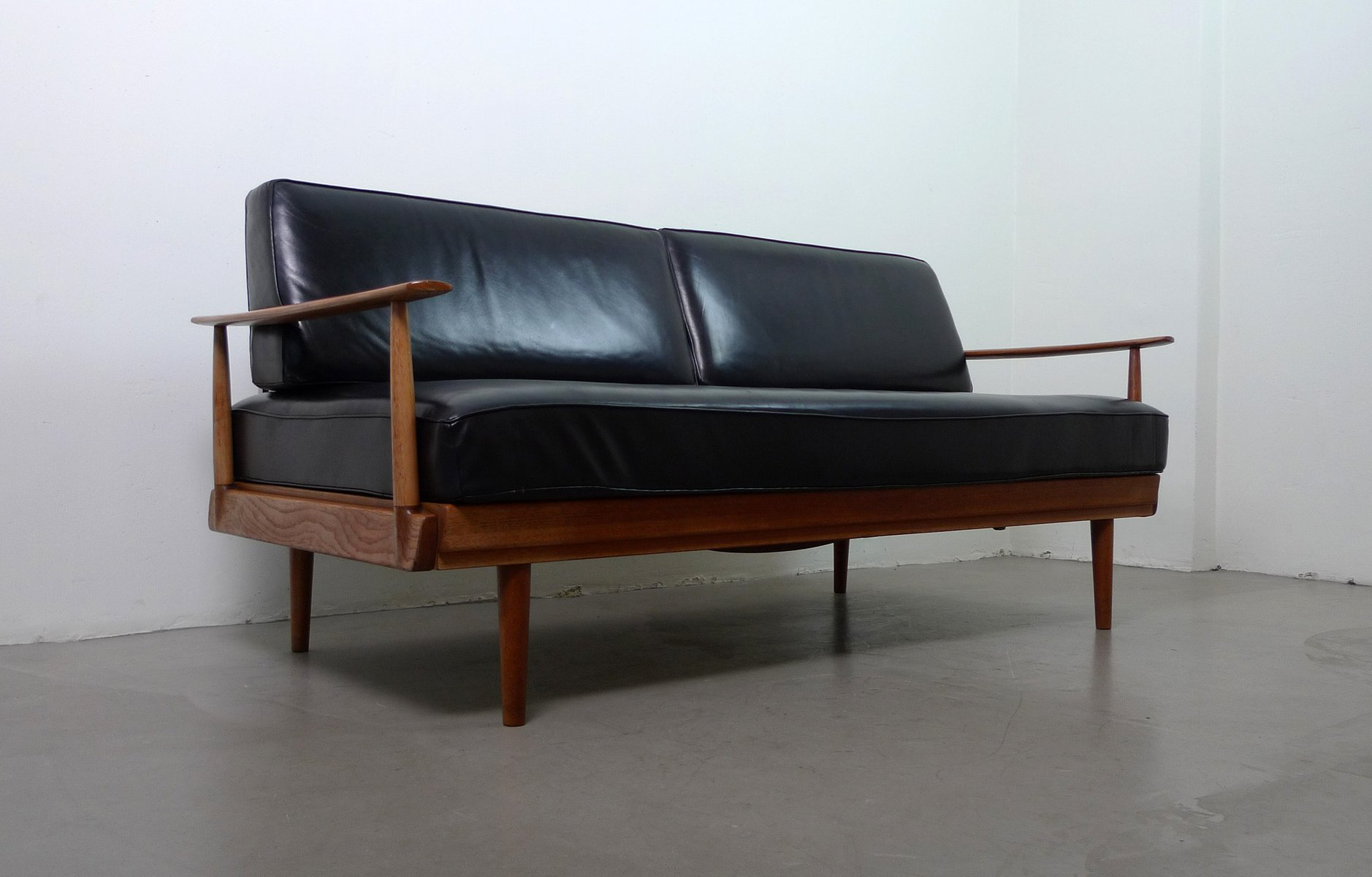 German teak black leather sofa bed from walter knoll for German sofa bed