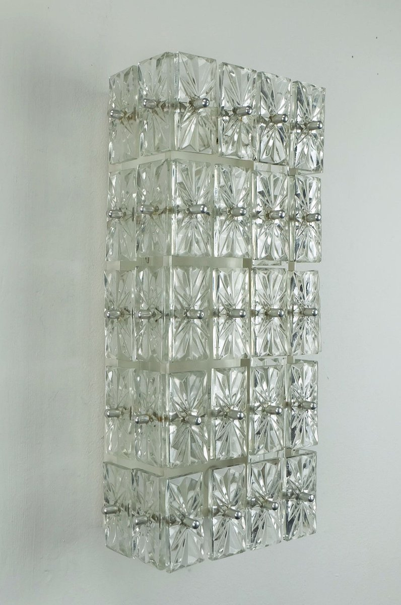 Wall Sconce With Prismatic Glass : Faceted Glass Prism Wall Sconce, 1960s for sale at Pamono