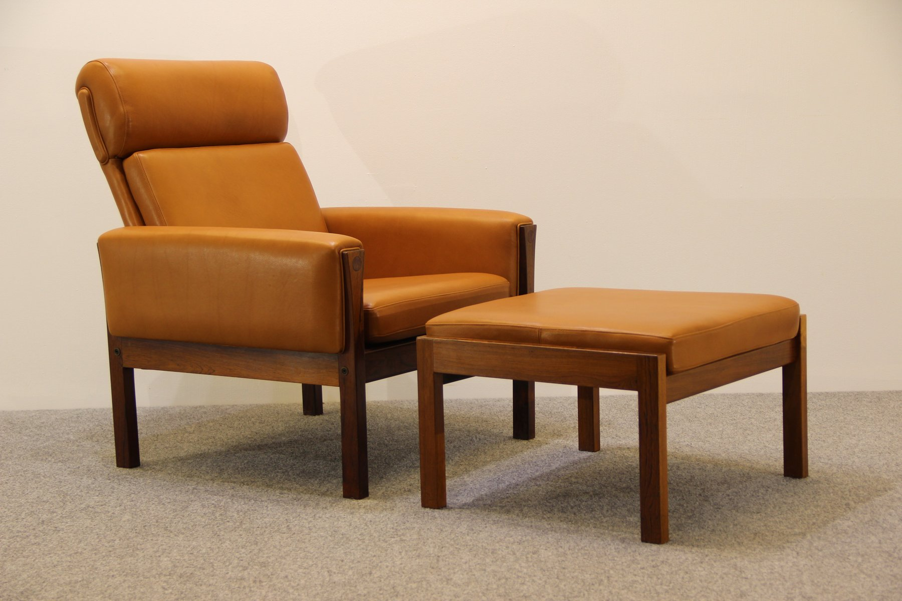 Mid Century AP62 Lounge Chair & Ottoman by Hans J Wegner for AP