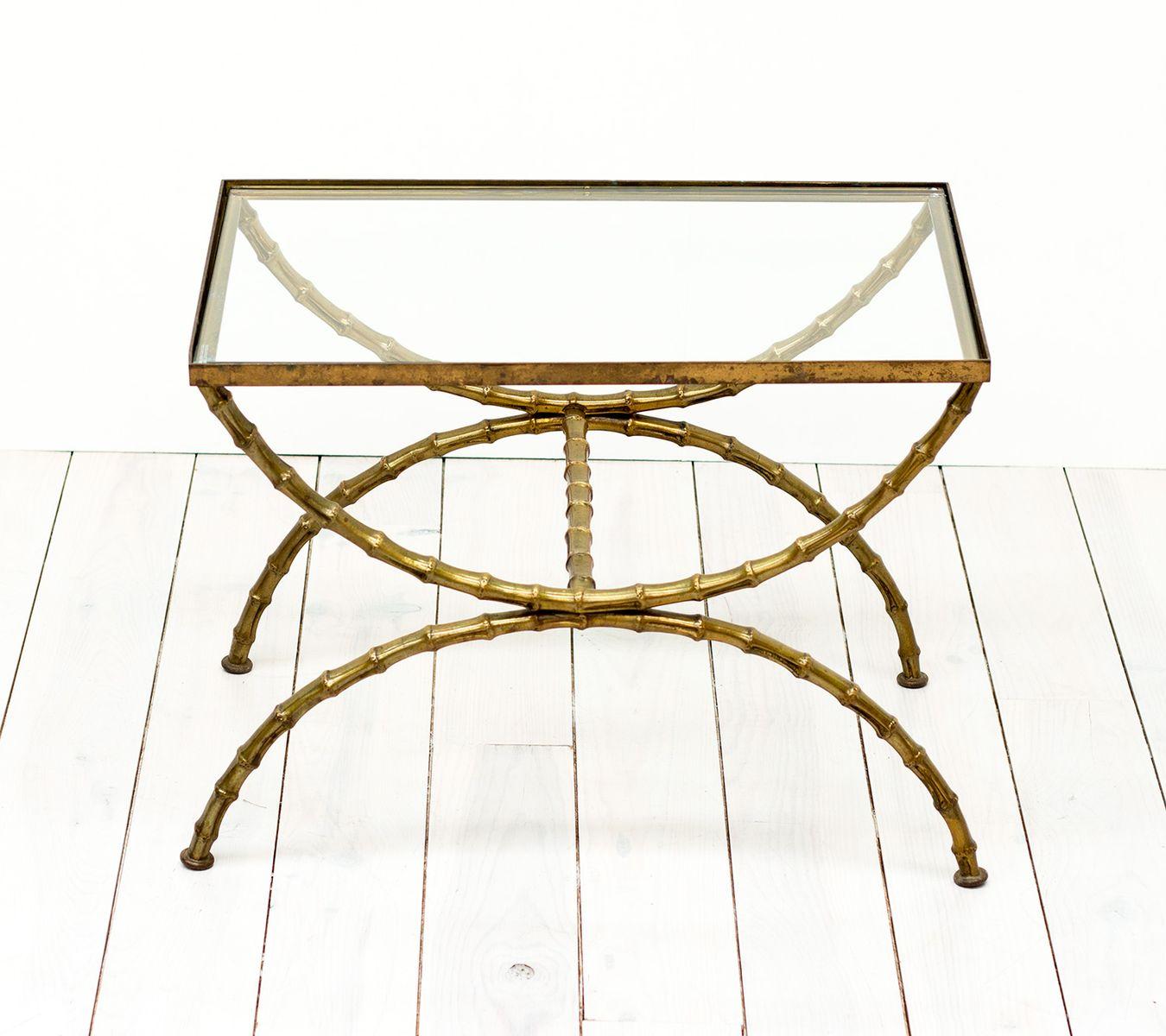 vintage messing glas beistelltisch in bambus optik. Black Bedroom Furniture Sets. Home Design Ideas