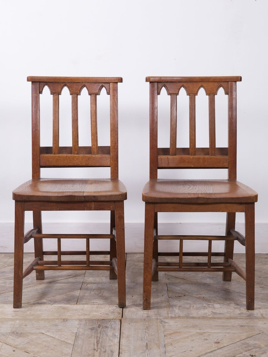 englische eichenholz kapellen st hle 1900er 2er set bei. Black Bedroom Furniture Sets. Home Design Ideas