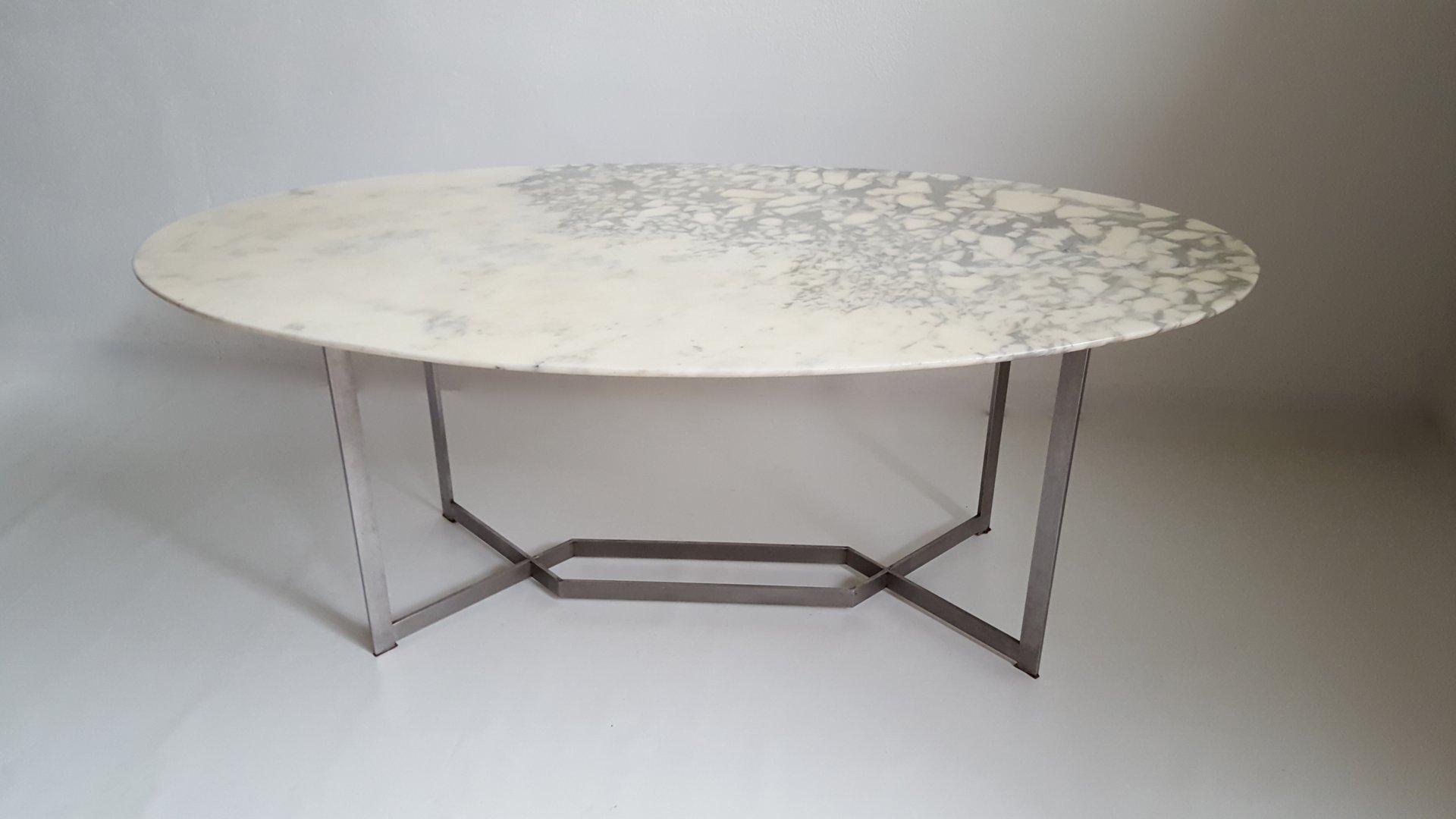 Franz sischer ovaler marmor edelstahl esstisch von paul for Esstisch marmor weiss