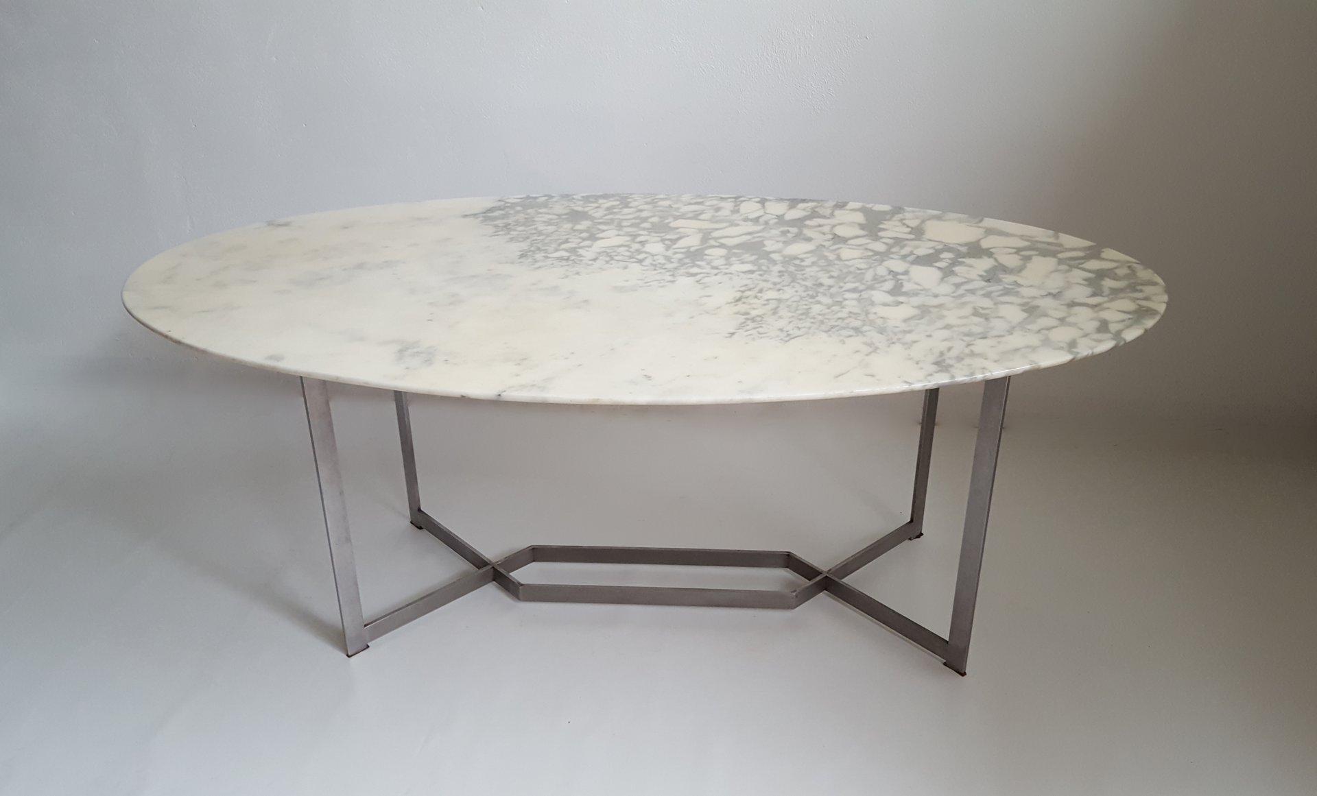 Franz sischer ovaler marmor edelstahl esstisch von paul for Design esstisch marmor