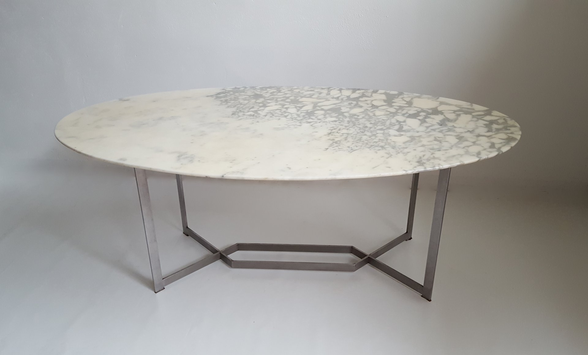 French oval marble stainless steel dining table by paul - Table bistrot marbre rectangulaire ...