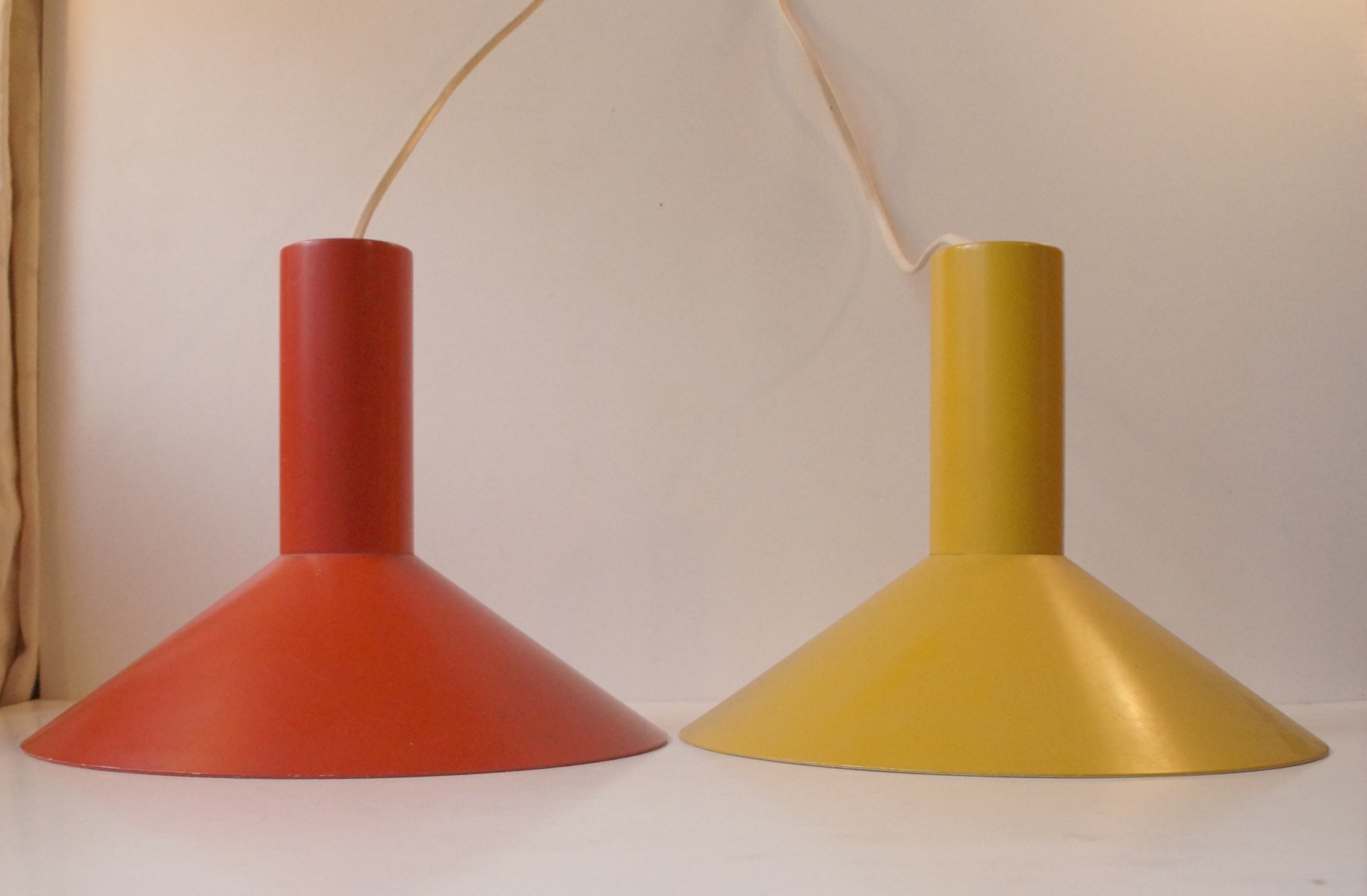 red yellow formel 1 pendant lamps by hans due for fog morup 1970s set of 2 for sale at pamono. Black Bedroom Furniture Sets. Home Design Ideas