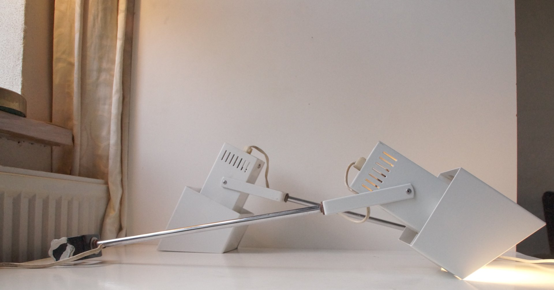 Danish Modernist Adjustable White Wall Lamps, 1970, Set of 2 for sale at Pamono