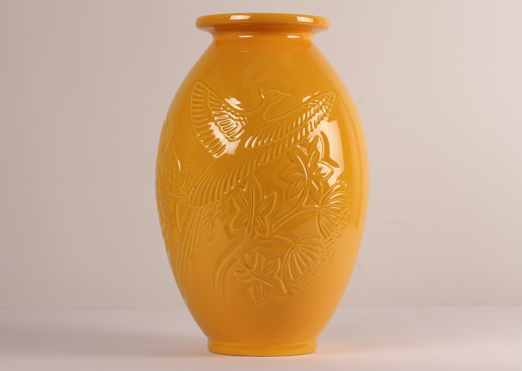 Large Yellow Ceramic Vase From Knabstrup, 1970s