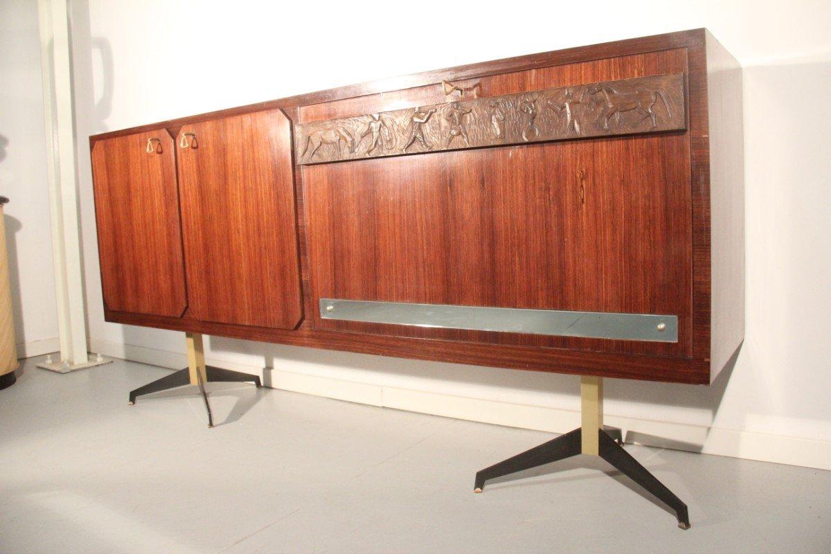 italienisches palisander sideboard mit barfach bei pamono. Black Bedroom Furniture Sets. Home Design Ideas