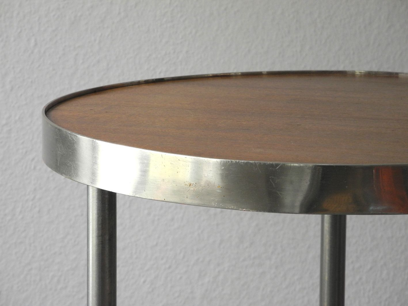 Attractive Mid Century Round Tubular Steel And Walnut Side Table, 1950s