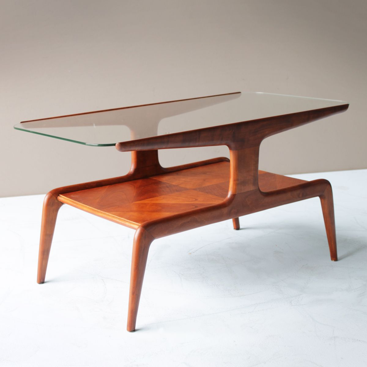 Cedar and glass top coffee table 1940s for sale at pamono Glass top for coffee table