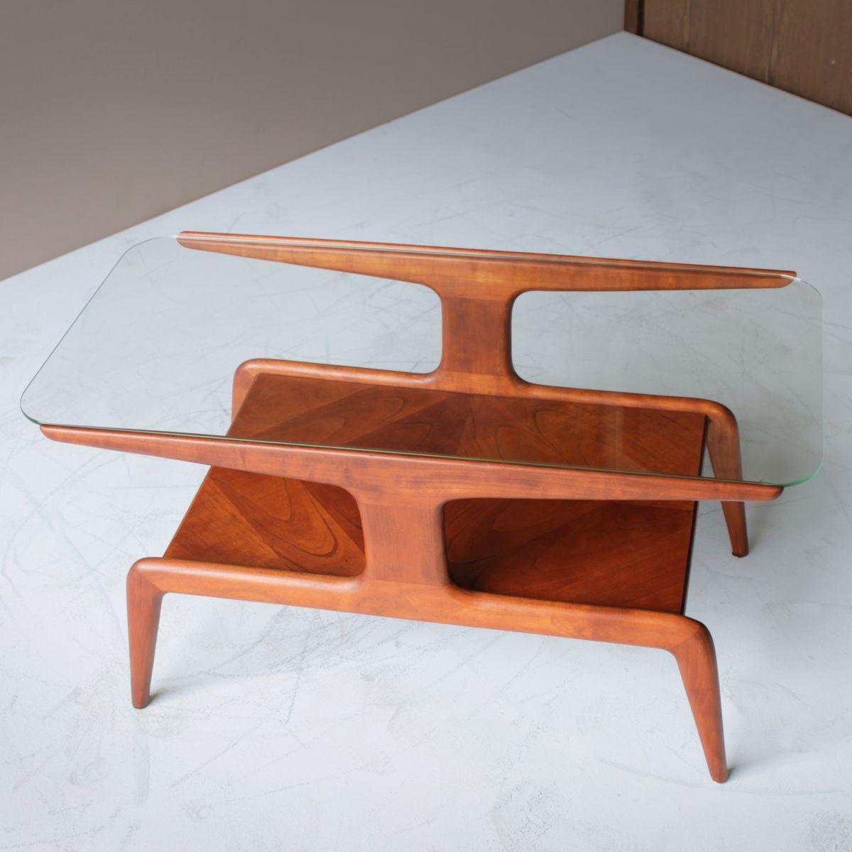 couchtisch aus zedernholz mit glasplatte 1940er bei. Black Bedroom Furniture Sets. Home Design Ideas