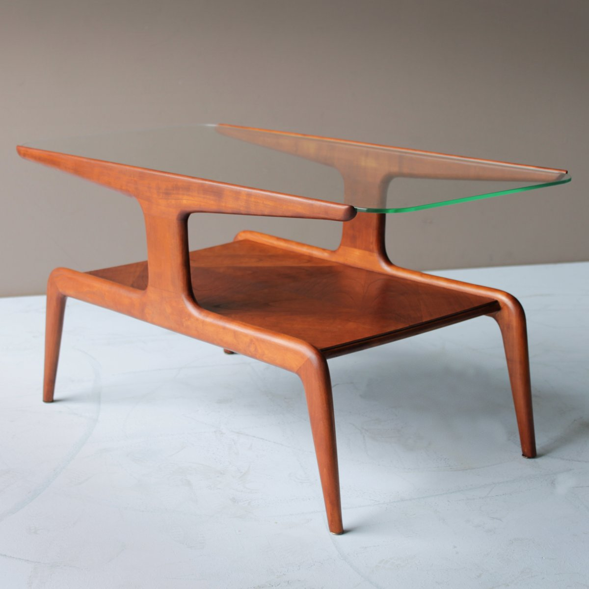 Cedar And Glass Top Coffee Table 1940s