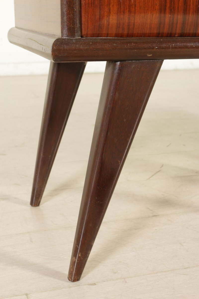 Glass Bedside Table : Rosewood and Glass Bedside Tables, 1950s, Set of 2 for sale at Pamono