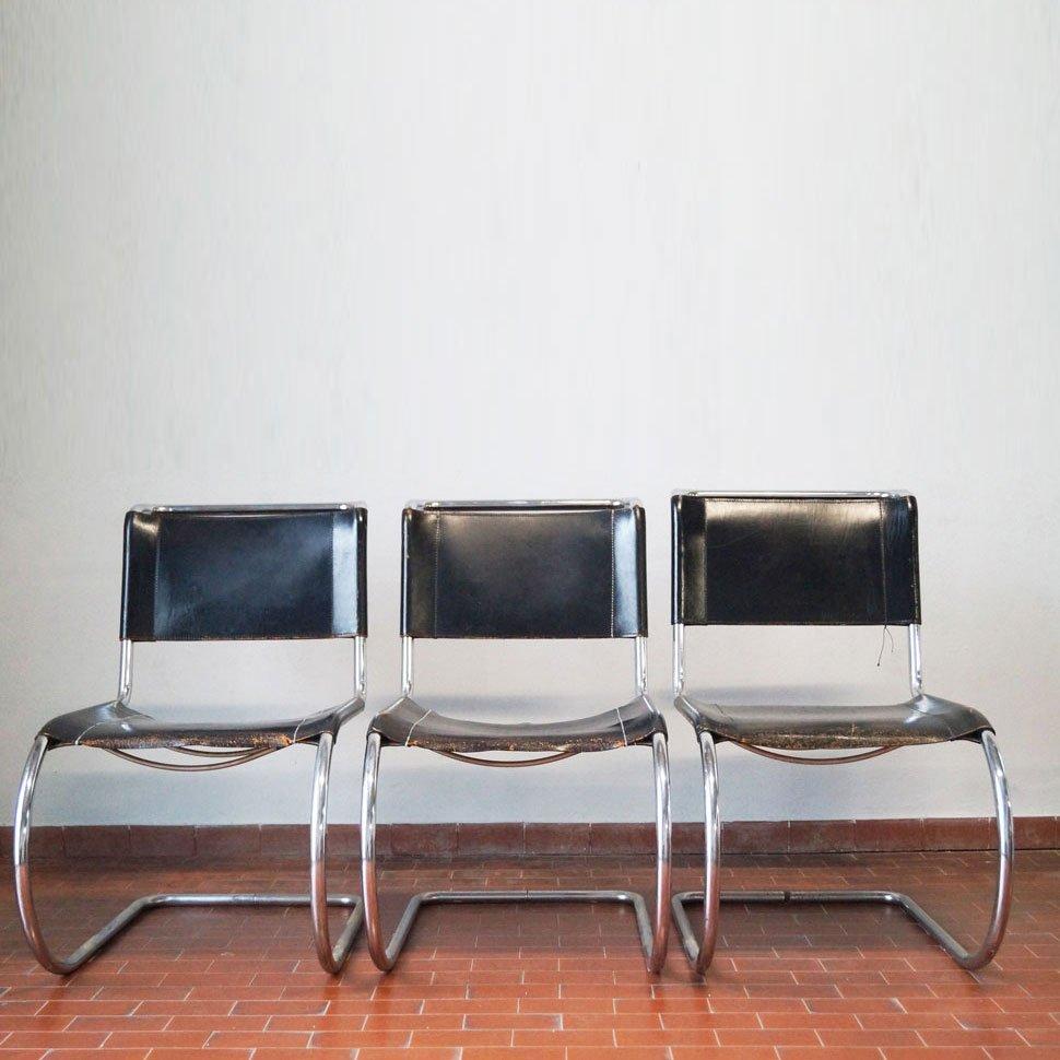 vintage mr 10 freischwinger von mies van der rohe f r thonet 3er set bei pamono kaufen. Black Bedroom Furniture Sets. Home Design Ideas