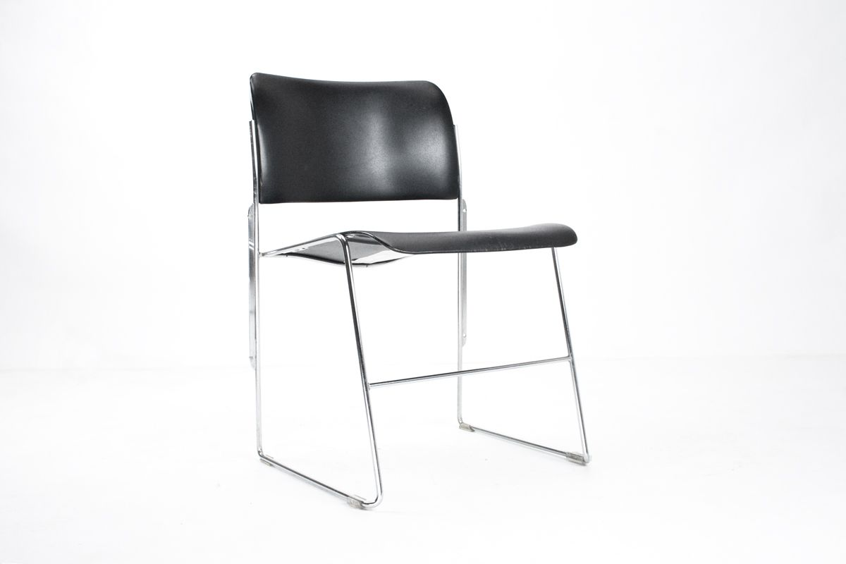 Dutch Model 40 4 Metal Dining Room Desk Chair By David Rowland For Howe 1964