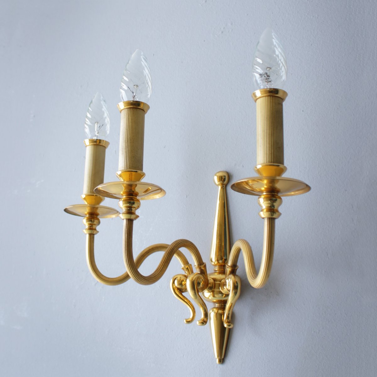 Gold Plated Wall Sconces from Lumi Milano, 1960, Set of 2 for sale at Pamono