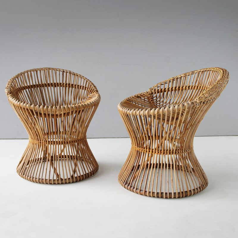 Captivating Italian Vintage Rattan Chairs, 1950s, Set Of 2