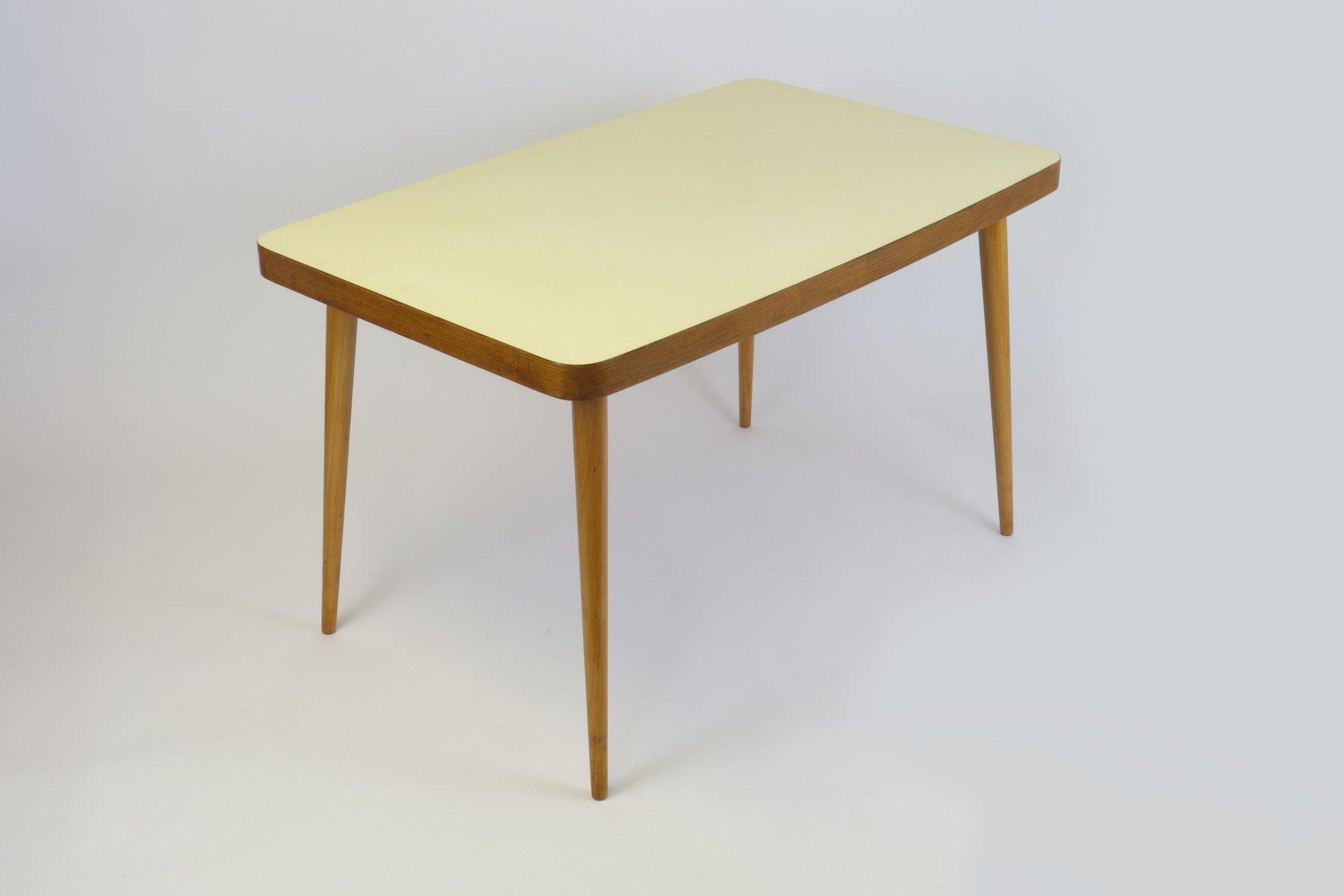 Tavolo da pranzo con ripiano in legno giallo, anni \'50 in vendita ...