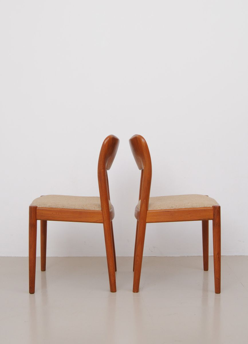 Mid Century Teak Dining Chairs By Niels Koefoed For