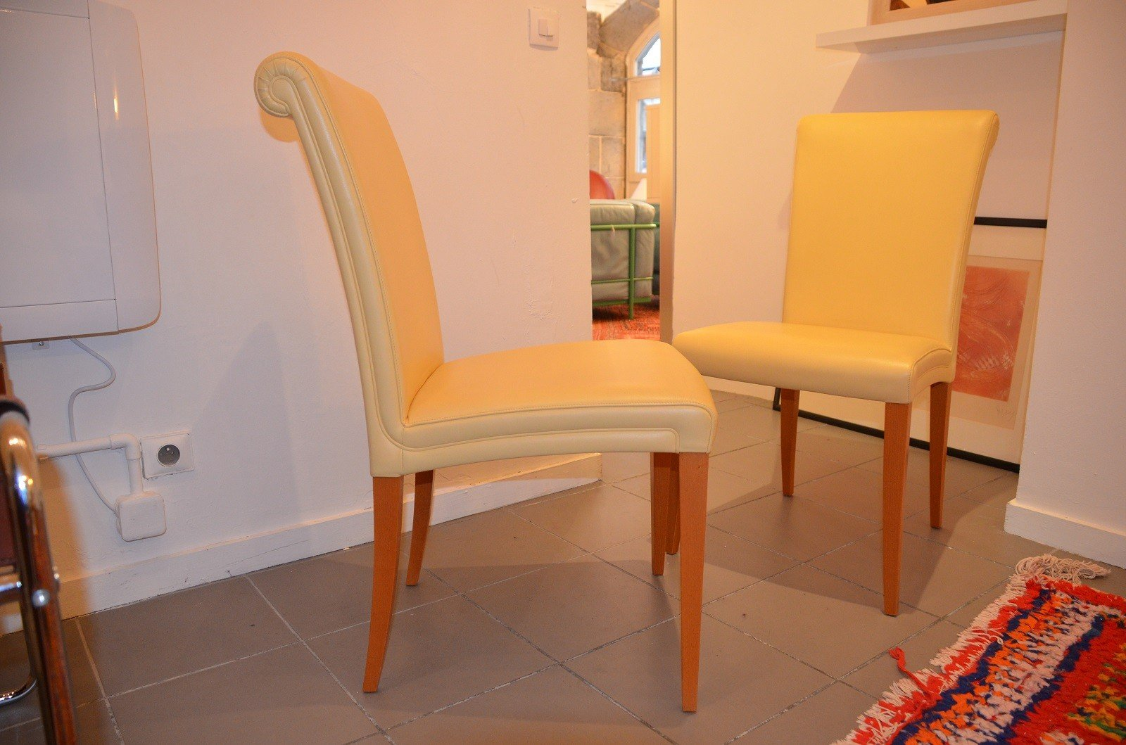 Leather sofa by poltrona frau at 1stdibs - Vintage Vittoria Yellow Leather Chairs From Poltrona Frau Set Of 6