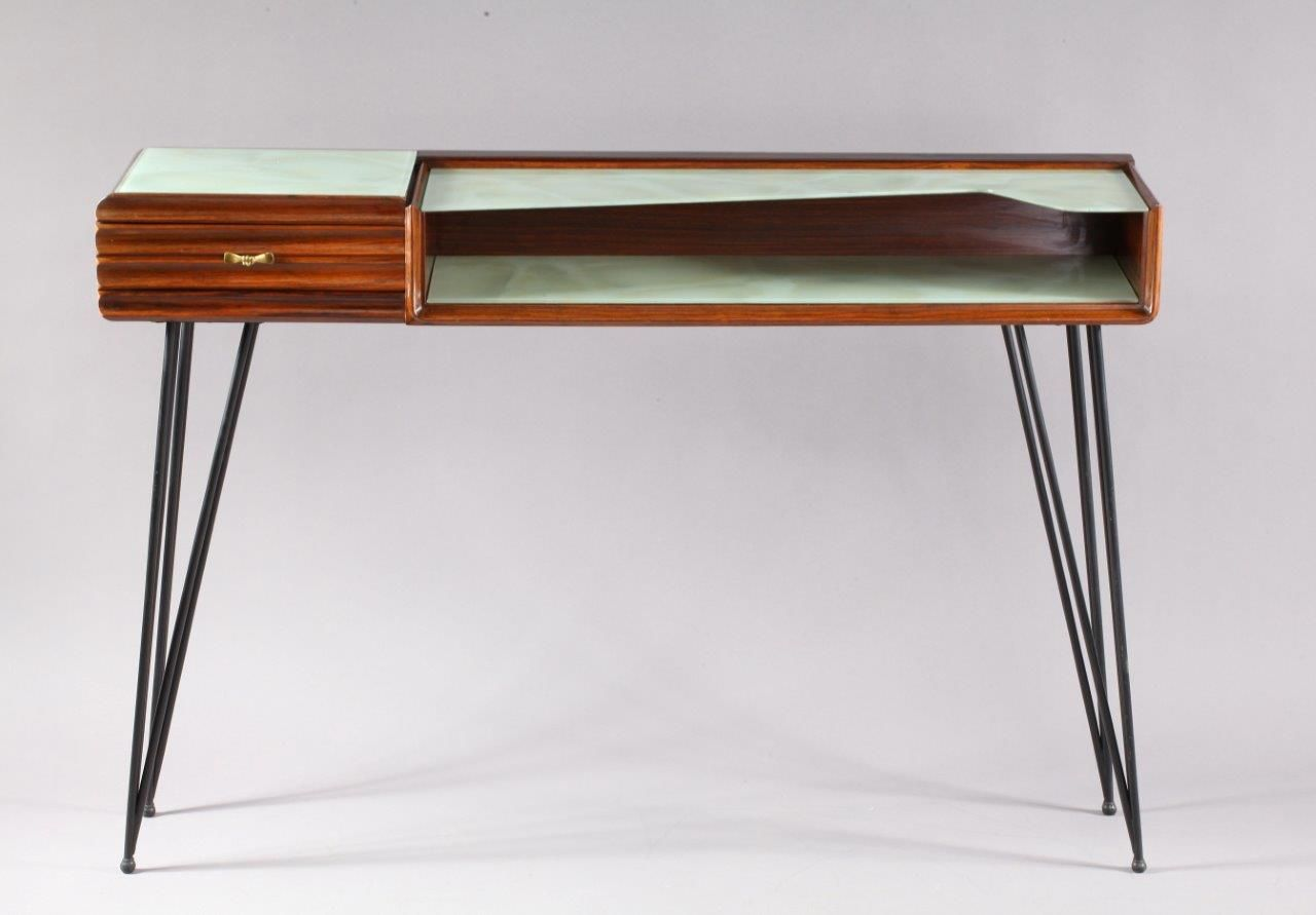 Italian Rosewood Console Table With Triangular Legs, 1950s