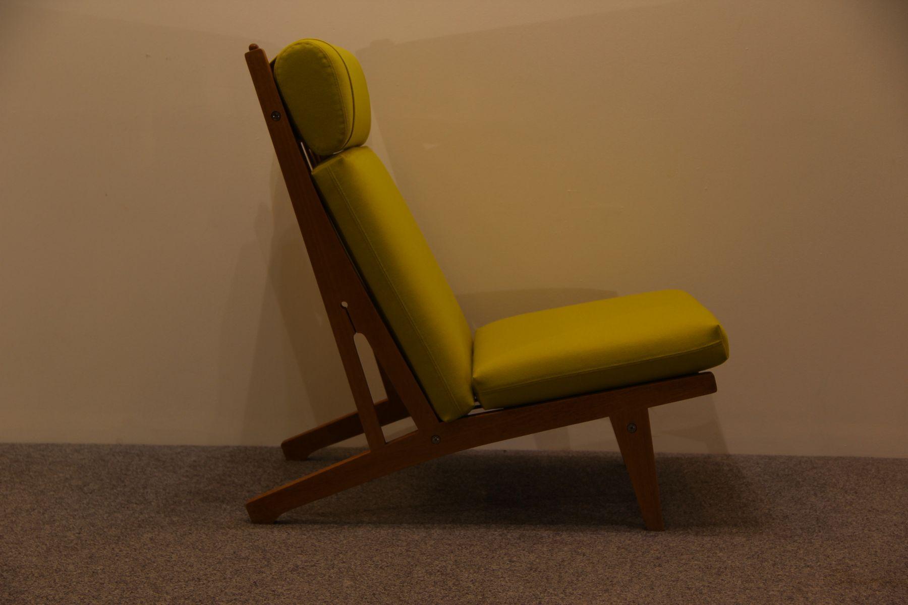 Danish Oak Lounge Chair with Yellow Cushions by Hans J Wegner for Getama 19