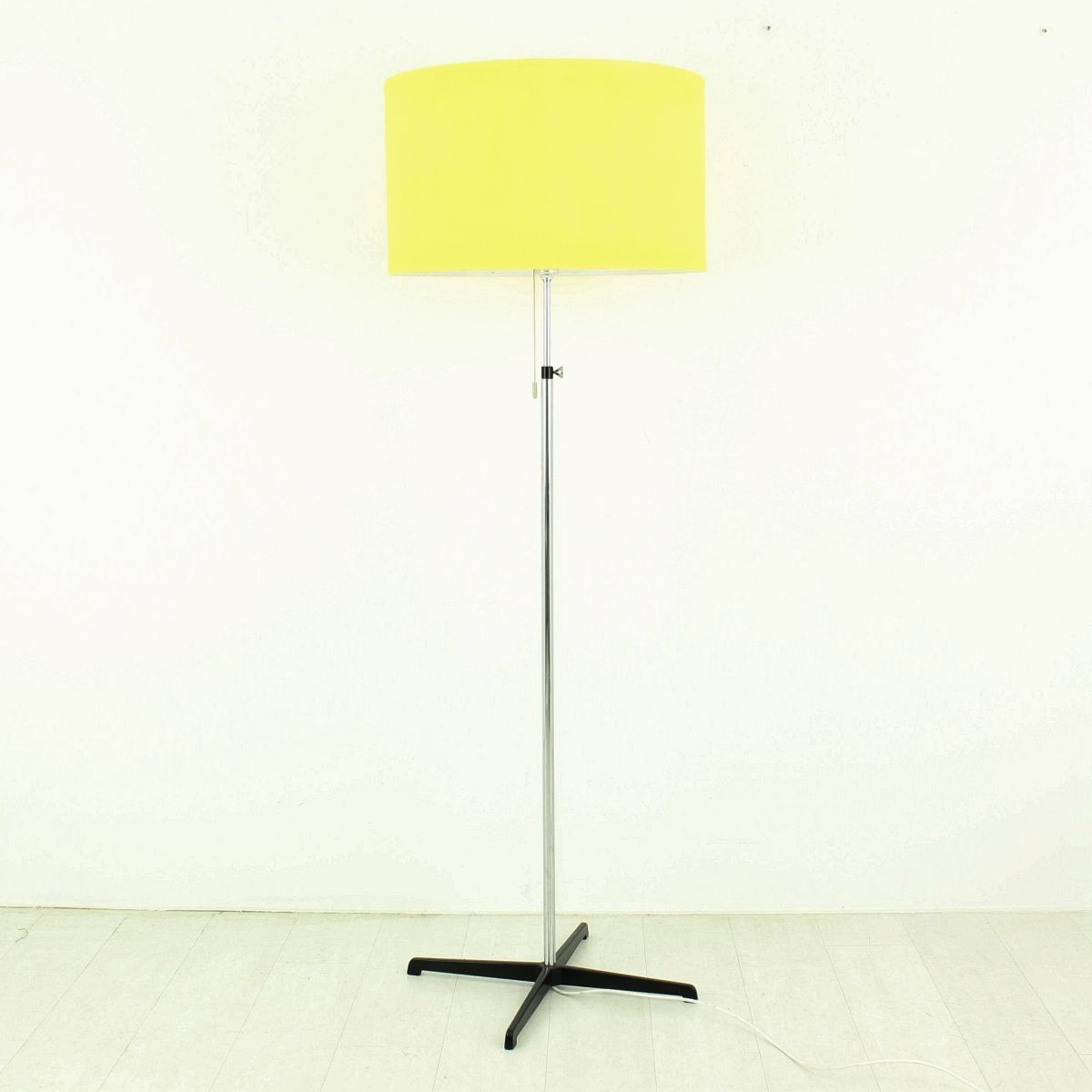 Chrome floor lamp with yellow shade 1970s for sale at pamono for 1970s floor lamps