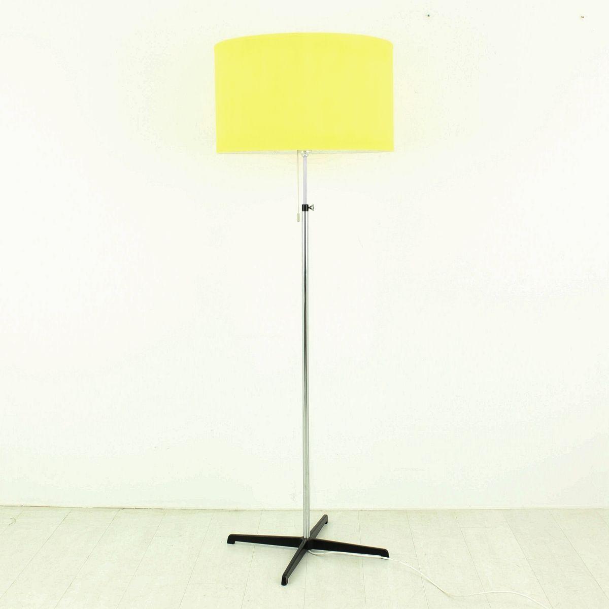 Yellow floor lamp - Chrome Floor Lamp With Yellow Shade 1970s