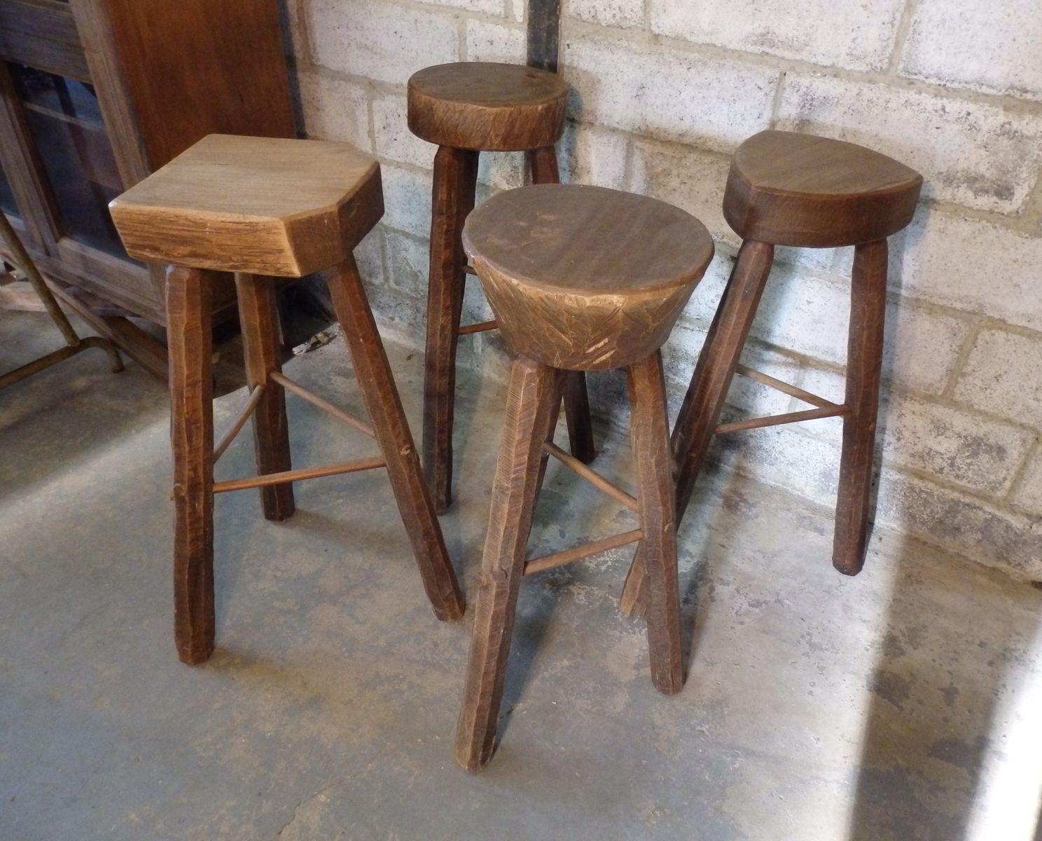 handmade elm bar stools set of 4 for sale at pamono. Black Bedroom Furniture Sets. Home Design Ideas