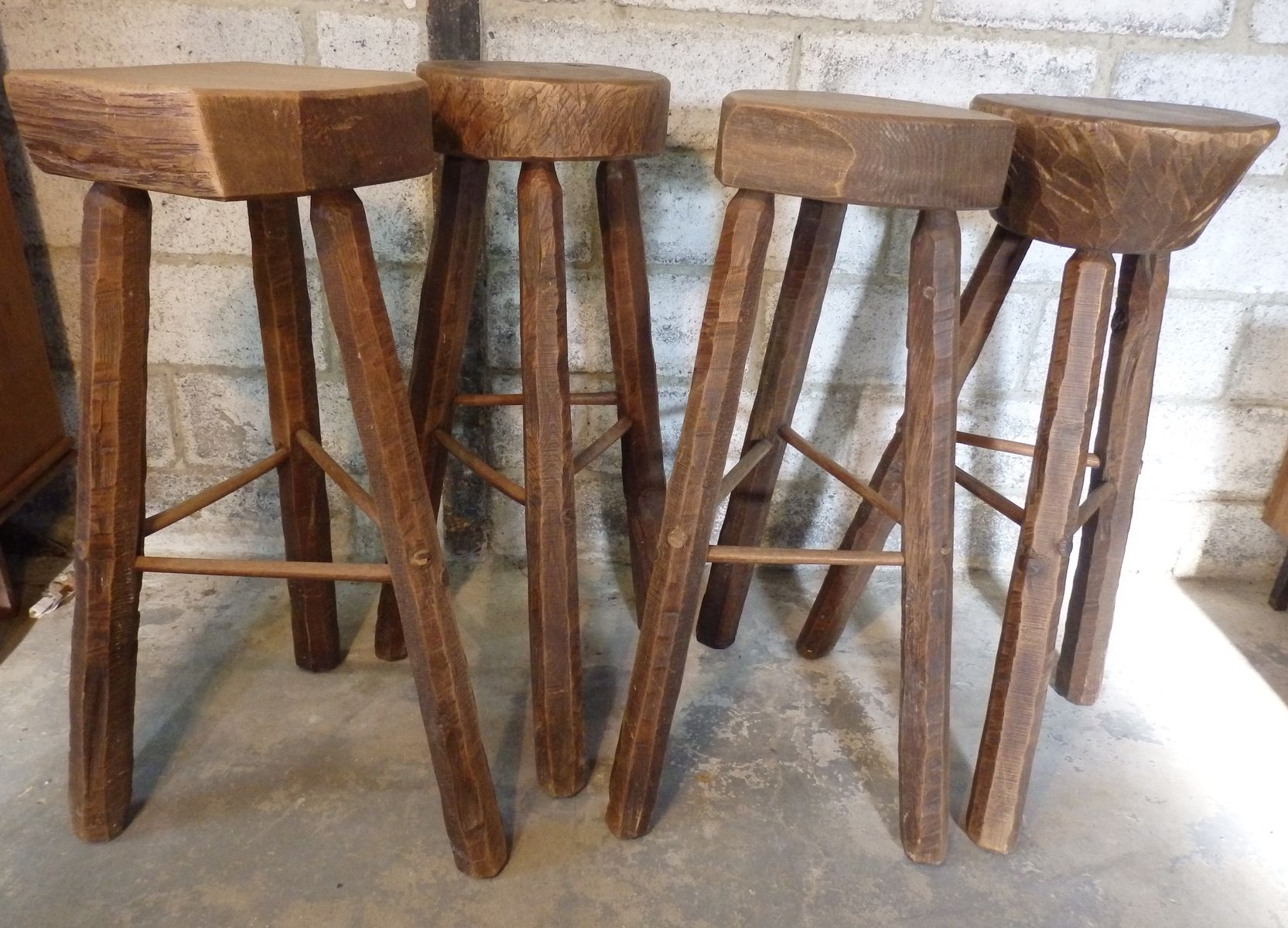 Handmade elm bar stools set of 4 for sale at pamono for Bar stools for sale