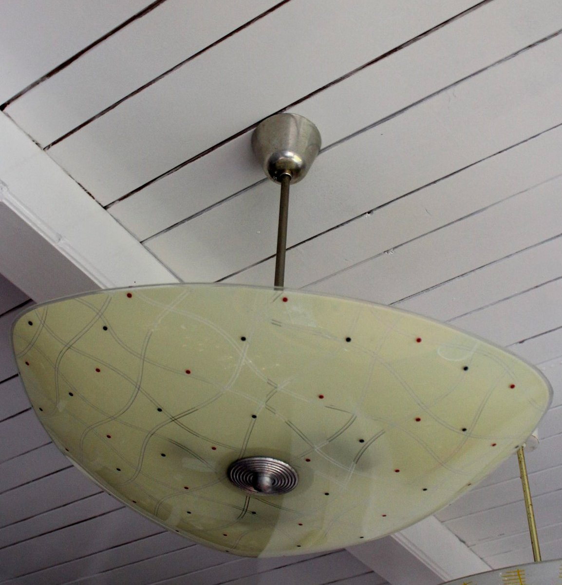 Mid century czech glass ceiling lamp for sale at pamono for Mid century ceiling lamp