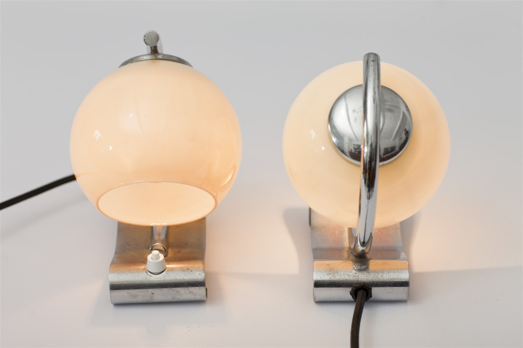 Chrome night lamps - Bauhaus Style Chrome Night Lamps From Napako 1940s Set Of 2